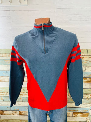 90s Zip Collar Acrylic Sweater By Steffens