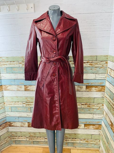 70s Burgundy Leather Trench Jacket