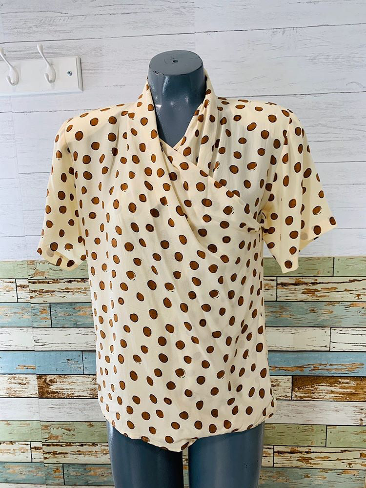 90s - Christian Dior Dot Blouse Shortsleeved
