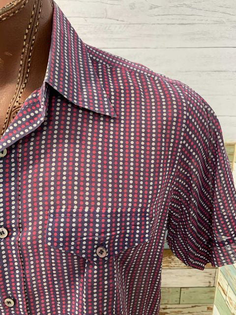 70s Multicolor Sheer  Dot Short Sleeve Shirt