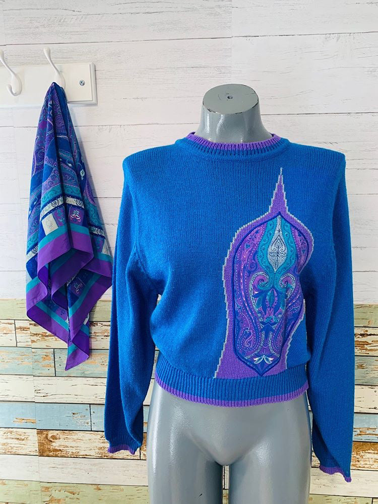 80s - Jaymee Papell Paisley Knit Sweater With Matching Scarf