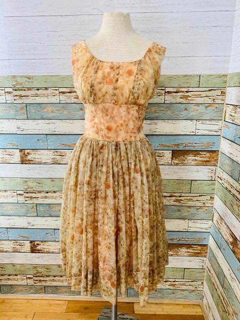 50s - Flower Dress No sleeve By Suzy Perette - Hamlets Vintage