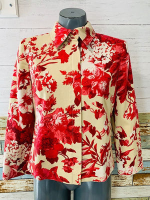 90's - Flowered Zip Jacket - Hamlets Vintage