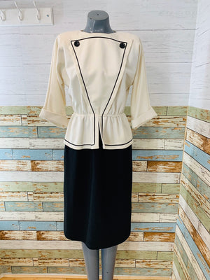 80's Long Sleeve - Black & White Button Detail Belted | Peplum Dress