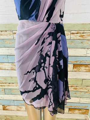 00s Silk Drape Print Non Sleeve Dress