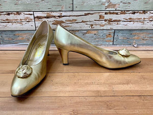 90s - Salvatore Ferragamo Shoes Pump Metallic Gold