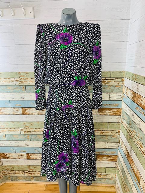 80s - Drop Waist Maxi Flower long Sleeve Flower Print Dress  By Kono New York