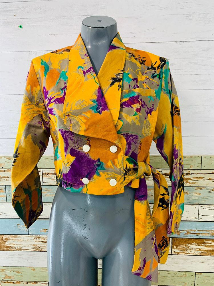 80s - Crop Double Breasted Blouse/Jacket With Side Wrap Strap - Hamlets Vintage
