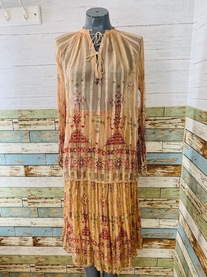 70s - Boho Sheer Indian 2 Piece Skirt Set - Hamlets Vintage