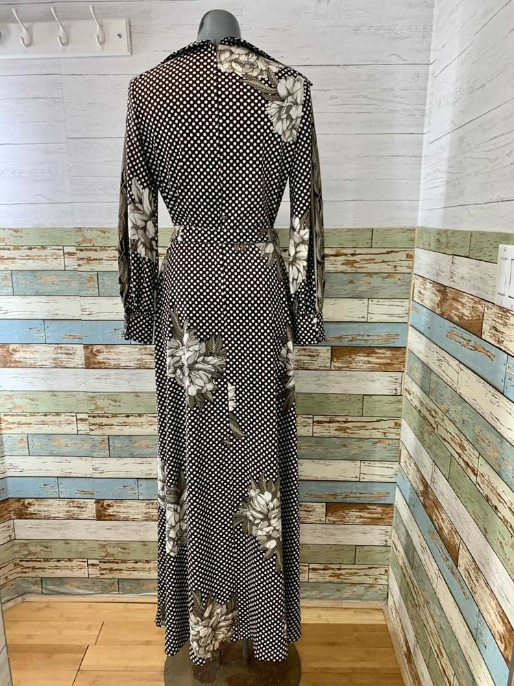 70s Maxi Long Sleeve Polka Dot & Flower Print Dress