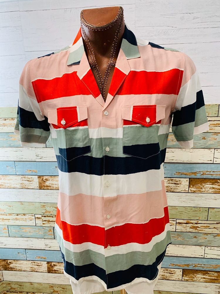 Varsos & Co. - Multicolor Stripe | Short Sleeve Shirt - Hamlets Vintage