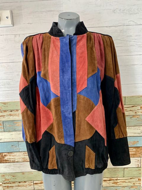 80s - Multicolor Patch Leather Jacket - Hamlets Vintage