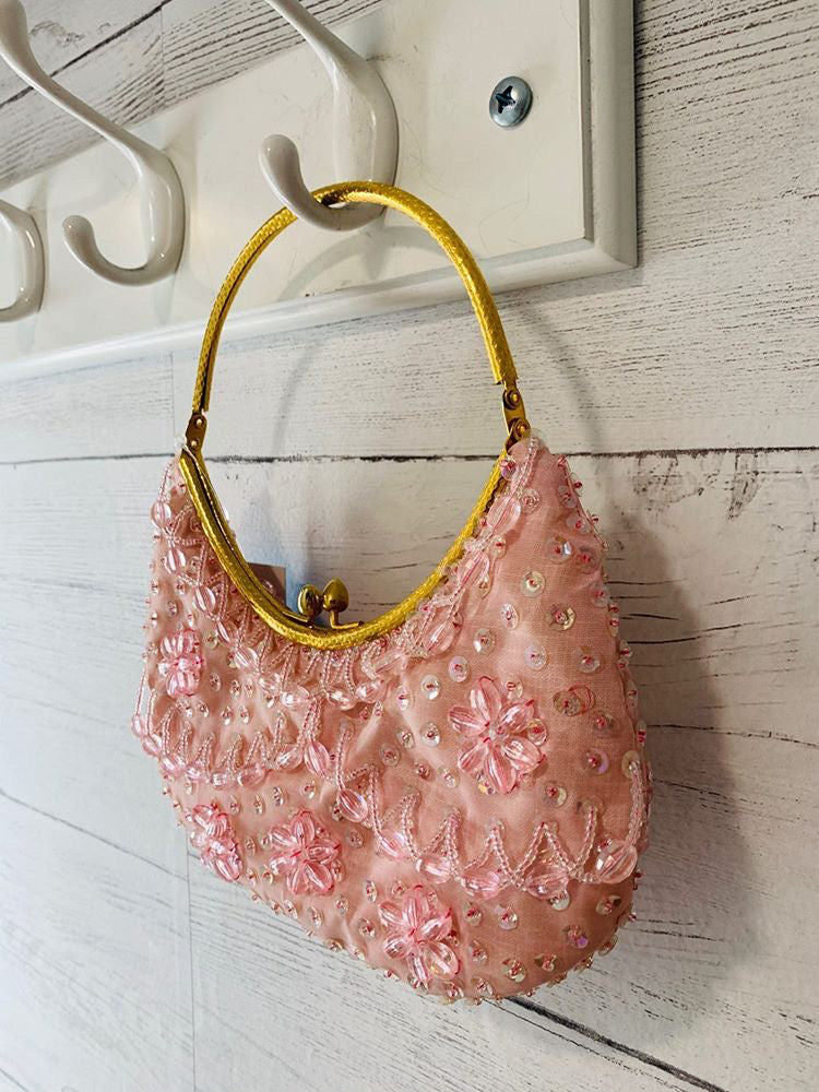 60s - Light Pink Beads & Sequin Snap Purse - Hamlets Vintage