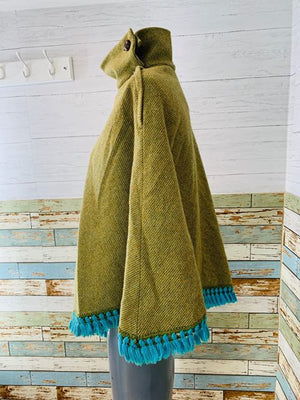 70s - Wool Poncho Cape With fringes