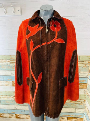 70s - Suede Poncho With 2 Tone