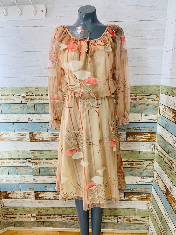 70s - Liz Roberts Inc Sheer Flower Print | Long Sleeve Dress - Hamlets Vintage