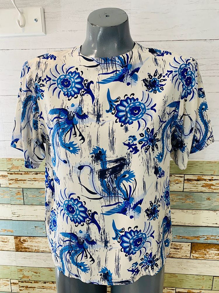 00s - Oscar De La Renta Flower Print Silk | Short Sleeve Top