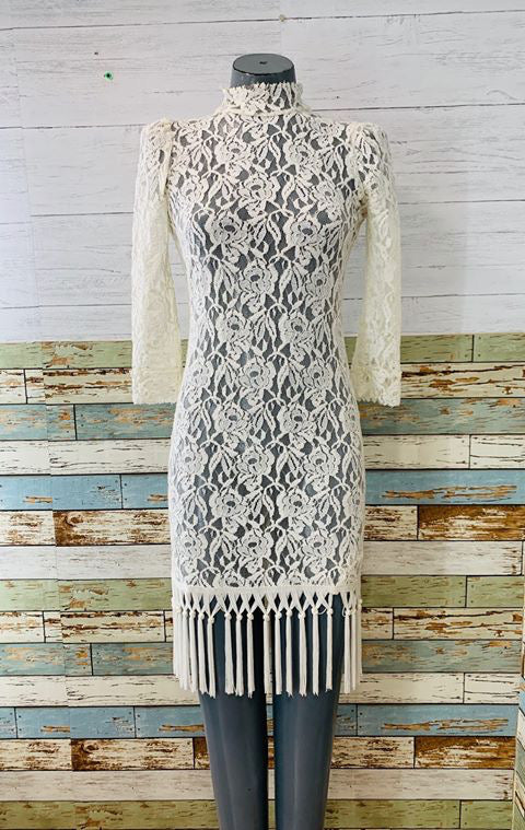 80s - Lace & Fringe Dress - Hamlets Vintage