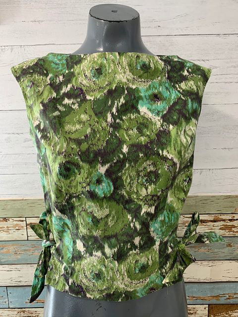 60s - Flower Print no Sleeve Top