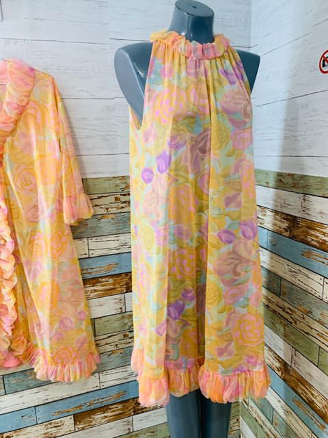 60s Nightgown Set Pastel Rose Print - Hamlets Vintage