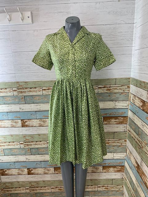 50s - Short Sleeve Silk Dress