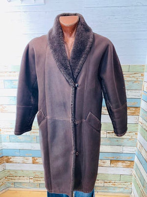 80s Shearling Long Dark Brown Coat By Bonwit Teller