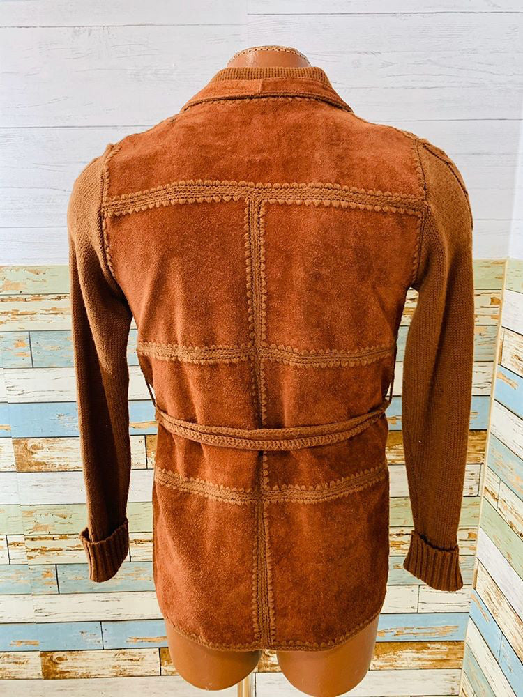 70s - Suede/Knit By Stitch & Style | Jacket With Belt