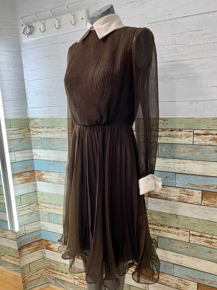 60s Long Sheer Sleeve Dress With Rose Cuff Details & Plead Dress  By Miss Elliette