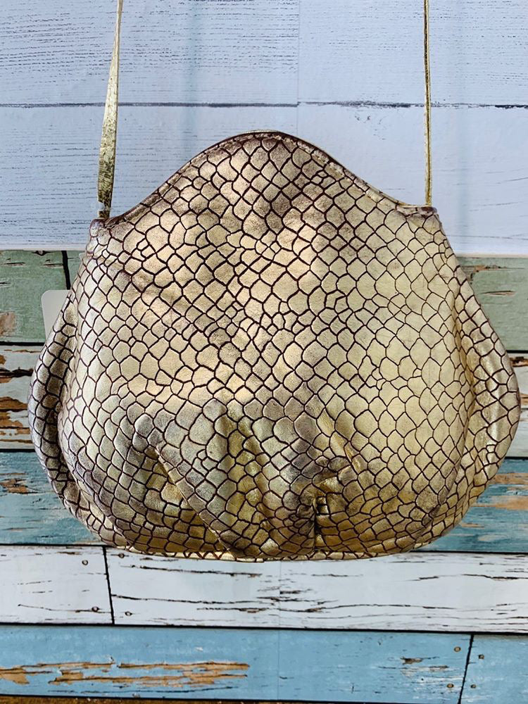 80s - Gold Leather Snake Skin print purse - Hamlets Vintage
