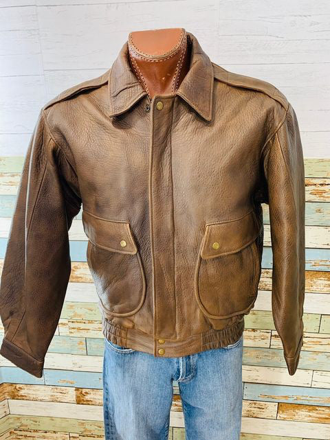 80s - Military Bomber leather Jacket