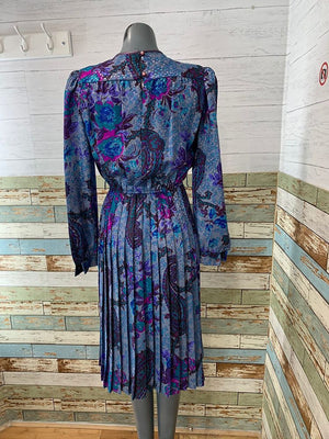 80s - Lisa Michael Blue Pleated Pattern Dress