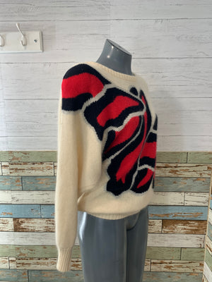 80's Abstract patch Sweater