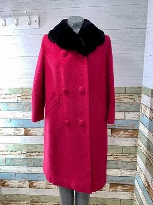 50s Hot Pink Coat With Fur Collar  By Young Cosmopolitan