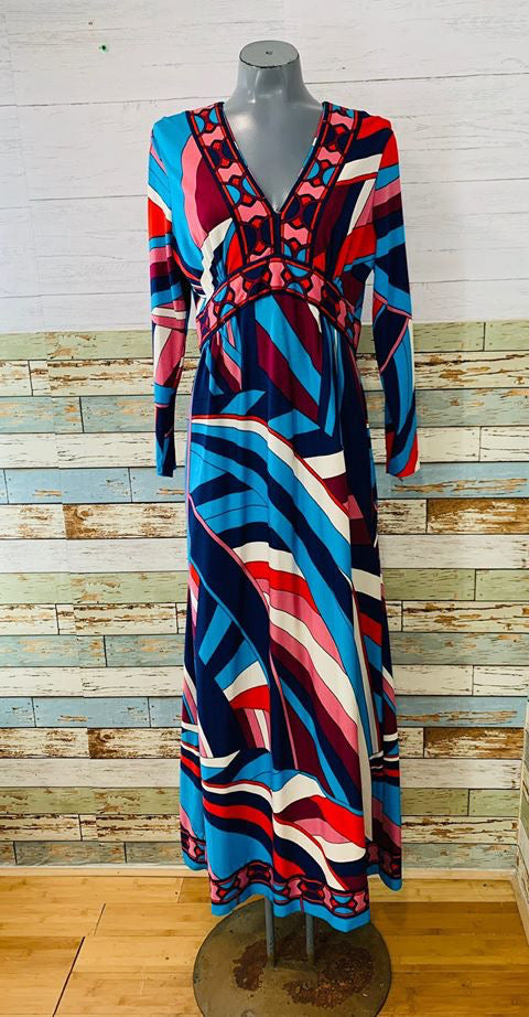 70s - Abstract Long Sleeve High Waist Dress - Hamlets Vintage