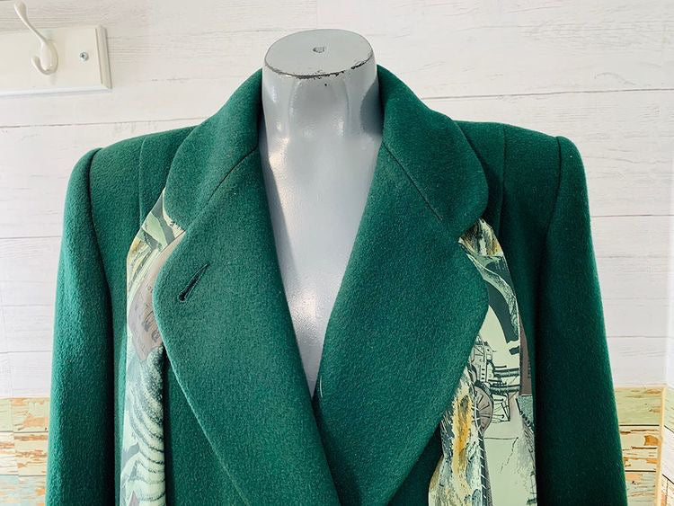 90s Double Breasted Green Long Coat With Print Match Scarf & Lining  By Alorna