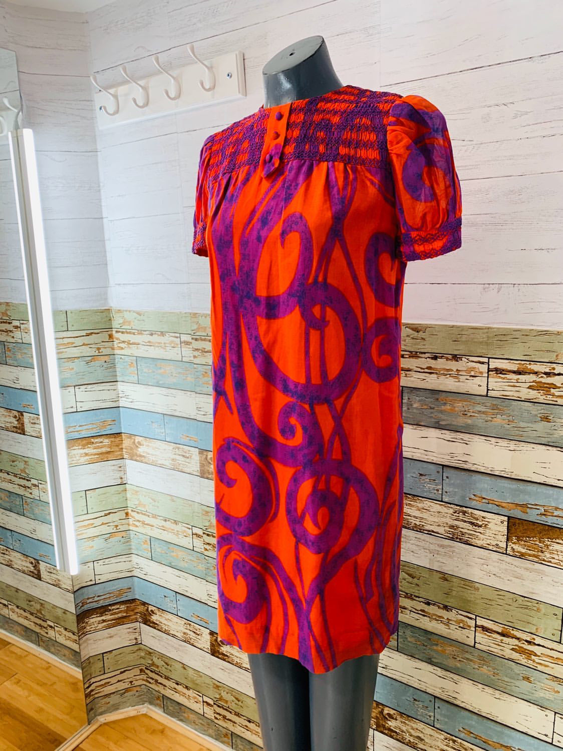 60's Red & Purple Abstract Print Babydoll Dress - Hamlets Vintage