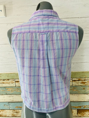 90's Sleeveless - Purple Plaid Tie Front | Blouse - Hamlets Vintage