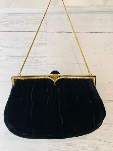 40s Velvet Chain Clutch By Nelson Hickson