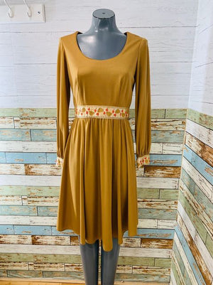 70s Long Sleeve Dress With Mushroom Trim By Julie Miller
