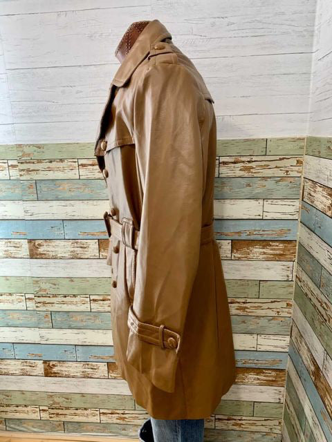 70s Faux Leather 3/4 Length Jacket With Belt  By Bostwicks