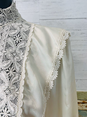 80's Long Sleeve - Victorian White Lace | Blouse