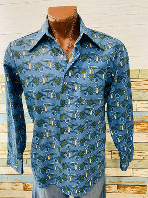 70s - Cars 1920s Print Long Sleeve Shirt - Hamlets Vintage