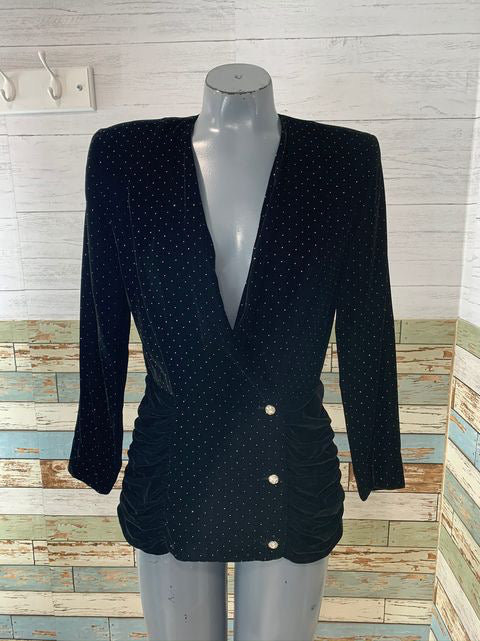 90s No Collar Velvet Jacket By Argenti
