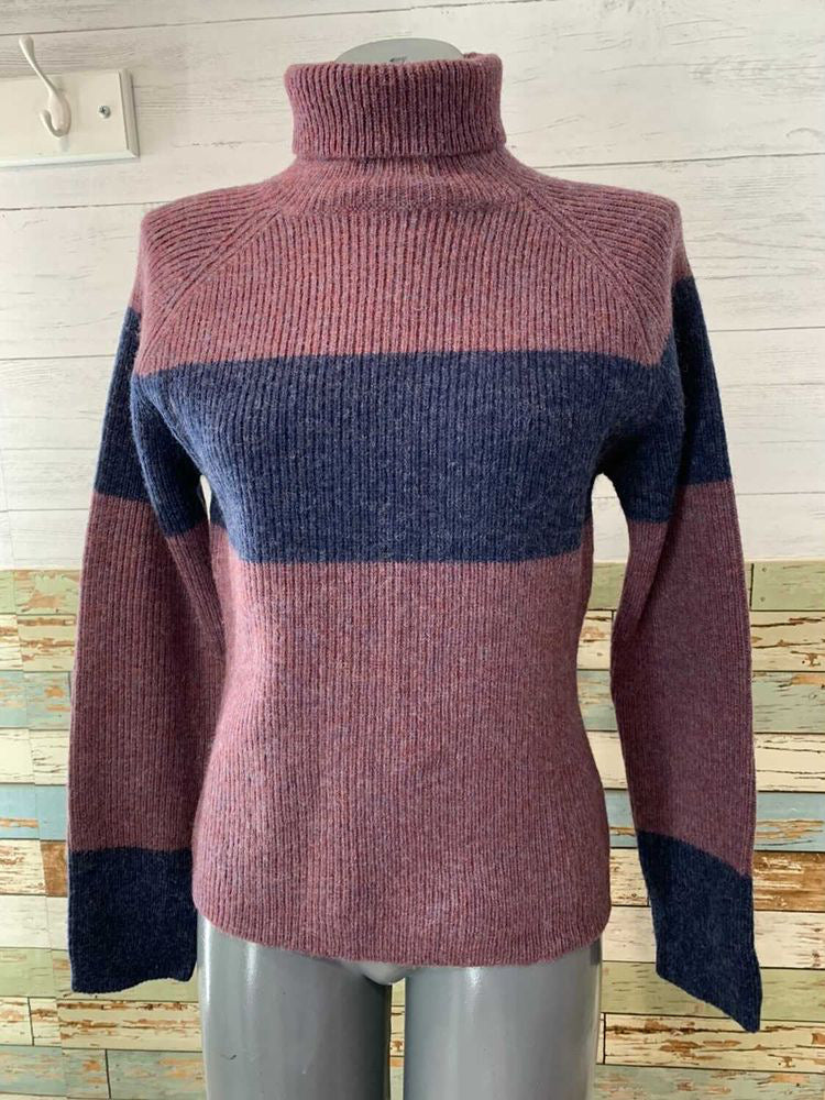 90s Long Sleeve Plum Turtle Neck Sweater with Navy Stripes  By Eastside Westside