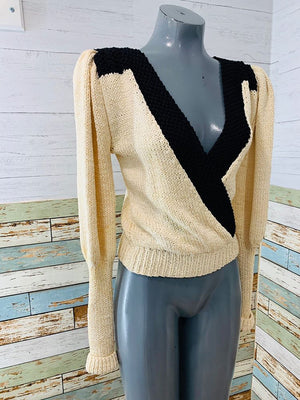 80s Nicole Of Miami Cross knit V Neck Sweater