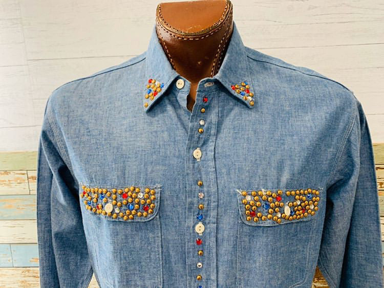 80s - Denim With Studs Long Sleeve Shirt - Hamlets Vintage