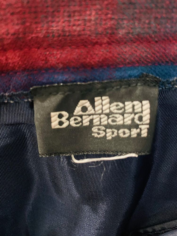 80's High Waisted Tartan Wool Skirt  By Allen Bernand Sport