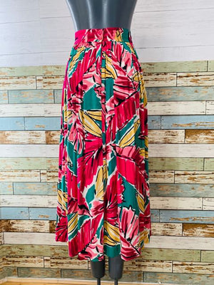 80s - High Waisted Long Print Skirt - Hamlets Vintage