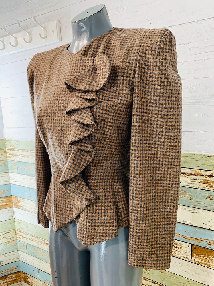 80's Suit Ruffle side Wool Jacket  By Carolina Herrera