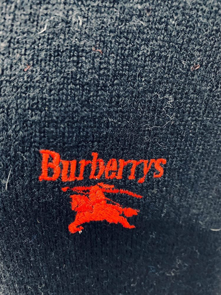 90's Burberry's V Neck Lambswool Sweater - Hamlets Vintage